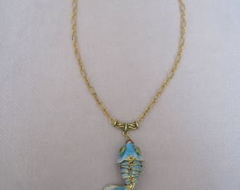 Refreshing Aqua Large Cloisonne Fish Pendant Necklace