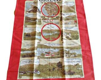Tea Towel Souvenir Lakeland England Tea Towel Vintage