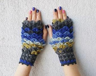 Fingerless gloves Fingerless mittens Knit gloves Girl's wool fingerless gloves Dragon scale gloves in blue mustard grey