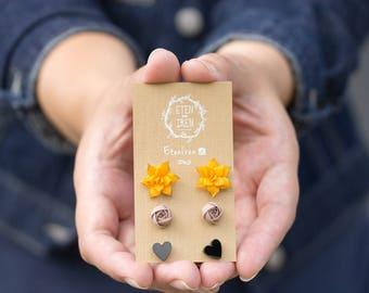 Yellow grey black Succulent flowers Heart Stud Earrings Set Wholesale Small Hypoallergenic Studs Women Girl Birthday Christmas Gifts
