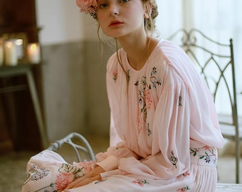 Women Bohemian Vintage Floral Pink Dress, two-pieces dress, bohemian dress, hippie women dress, boho woman dress, floral embroidery dress