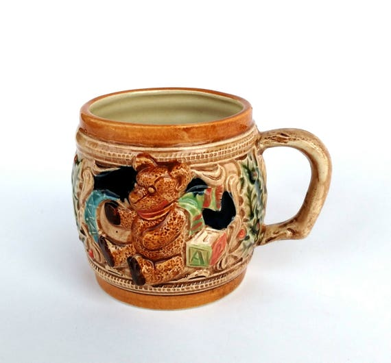 Vintage Ceramic Baby Beer Stein Mug with Teddy Bear and Toys