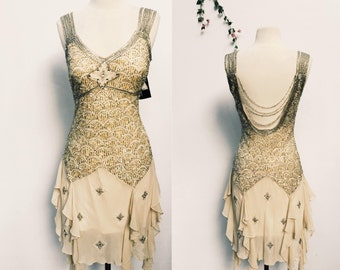Deadstock vintage Sue Wong flapper style cocktail dress -Neiman Marcus designer beaded 20's inspired party dress - medium