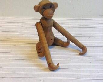 Wood Monkey Figure. 1960 Vintage, Modernist. Mod, Mid century, Danish Modern, Eames, Bojesen era. School Line, Made in Japan.