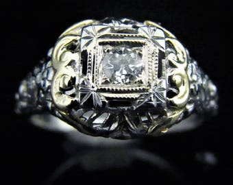 c.1920s Art Deco Old European Cut Diamond 18k White Yellow Gold Ring Promise LAYAWAY AVAILABLE