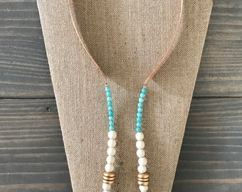 Boho Style White and Turqoise Leather Necklace