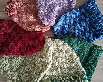 Chuncky warm winter slouchy beanie knitted hat unisex - blue/red/pink/brown/green/purple/orange
