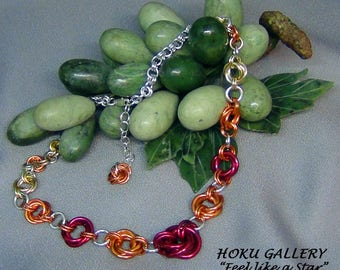 """Chainmaille Mobius Choker - Anodized Aluminum Rings, Fire Mix - 16"""" + 2"""" - Hand Crafted Artisan Jewelry"""