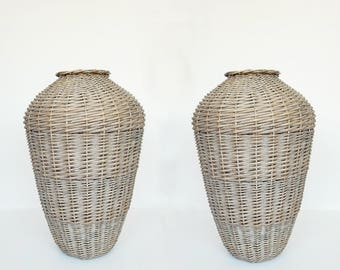Pair of French Rattan Vases for Home Decor Decoration Shabby Chic Boho Chic African Decor