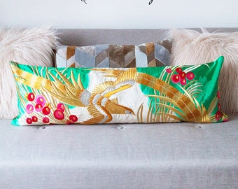 Long Bolster Pillow Cover, Banquette Cushion Cover, Vintage Marriage Kimono Pillow Sham, Unique Wedding Gift For Couple Gold Embroidery Bird