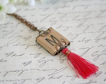 Scrabble Tile Necklace Personalized Initial Tassel Long Chain - made from a scrabble tile