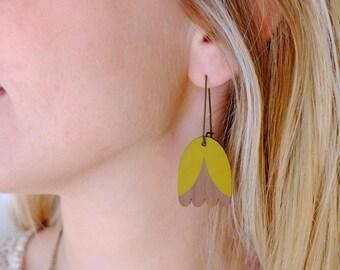 Wooden Mustard Yellow Tulip Long Hoop Earrings - Yellow on Walnut