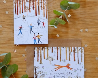 Six mixed illustrated Fox & Ice skaters Forest Christmas cards pack