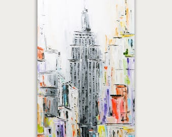 Original New York City Oil Painting, Abstract City Painting, Modern Art, Texture Art On Canvas, Home Decor