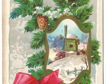 Pine Tree Pine Cone Red Bow Winter Wonderland Winter Scene Windmill Vintage Postcard Christmas Greeting Card