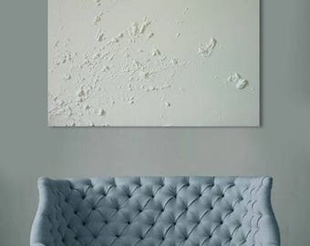 Original abstract acrylic painting 23,6 in x 27,5 in. White textured  and minimalist art