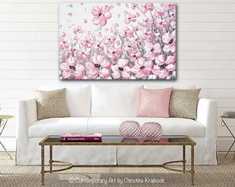 GICLEE PRINTS Large Art Pink Flowers Abstract Painting Home Decor Wall Decor Modern Coastal Canvas Print Grey White XL Sizes to 60 Christine