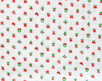 1960's White Christmas Quilting Fabric with Small Designs in Red and Green . 60s Soft Cotton Fabric with Wreaths Presents Mistletoe
