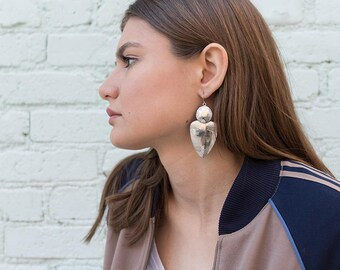 Geometric Dangle Earrings / Silver-Tone Boho Earrings / Statement Earrings / Oversized Statement Earrings / Costume Jewelry