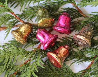 6 Vintage Glass Bell Feather Tree Christmas Ornaments