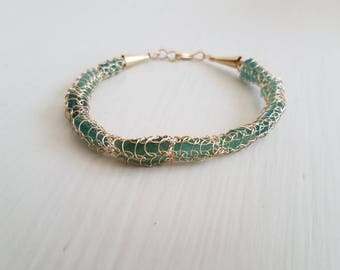 Bracelet Genuine Teal  Glass and Gold filled Knitted Wire