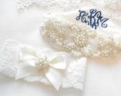 Wedding Garter Set MONOGRAM OPTION Lingerie Lace Classic Pearls and Rhinestone Setting Bridal Garter Set