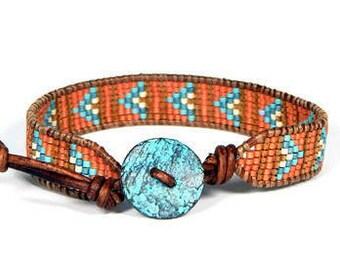 Bead Loom Bracelet Leather Wrap Bracelet Coral Aqua Seed Bead Leather Wrap Bracelet Boho Bracelet Bohemian Jewelry