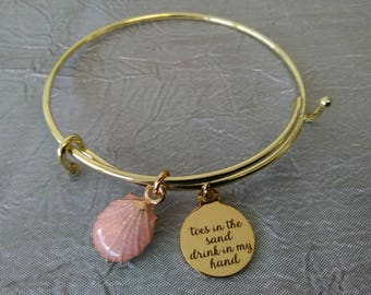 Toes in the Sand Drink in my Hand Shell Bangle Bracelet