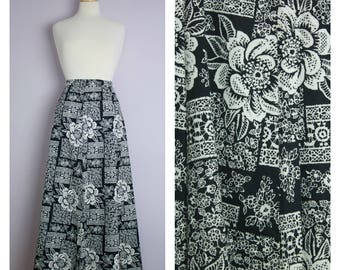 Vintage Black + White Floral Lace Maxi Skirt L/XL