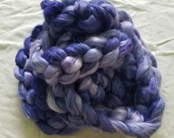 "4oz 100 % tussah silk roving hand dyed for spinning yarn purple shades making needle felting fiber arts supplies ""Violetta"" colorway"