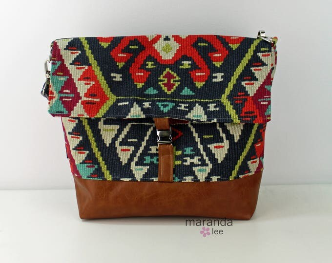 Lulu Large Flap Messenger Satchel  - Fiesta and PU Leather READY to SHIP