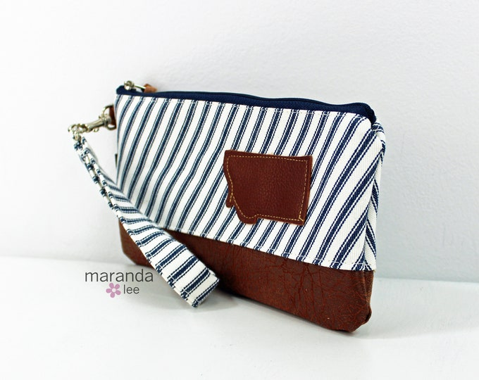 Flat Clutch - Pin Stripes with Montana Patch and PU Leather READY to SHIp