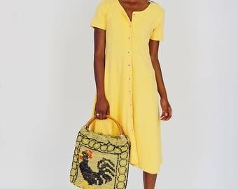 90s Mellow Yellow Cotton Dress