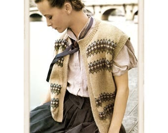 Instant Download PDF Fairisle Jacquard Knitting Pattern to make a Sleeveless Womens Cardigan Waistcoat Gilet 3 Sizes 32 to 38 inch Bust