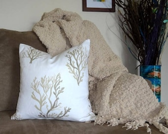 INVENTORY REDUCTION Brown Coral Pillow Cover Decorative Nautical Pillow Cover White & Tan Coral Size 18x18