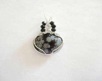 Wire Wrapped Pendant, Snowflake Obsidian Pendant, Snowflake Obsidian Jewelry, Natural Gemstone Pendant, Natural Gemstone Jewelry