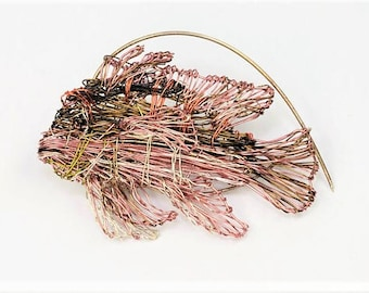 Fish brooch Wire fish art sculptural Beach Tropical jewelry Boho modern Coral pink Mother of the bride gift Summer gift Sea animal Unusual