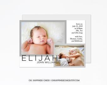 Baby Picture Birth Announcement: Newborn Photo Baby Girl Stats | Baby Photo Baby Boy Stats | Newborn Birth Card | New Baby Announcement Card