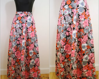 Fab Floral VNTAGE 1970s Funky Pink Grey Flower Full Maxi Skirt UK 10 EU 38 / Bohemian / Folk / Hippy