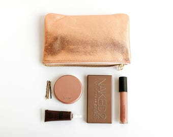 MAE Makeup Bag. Leather Make Up Bag. Rose Gold Cosmetic Bag. Leather Cosmetic Case.