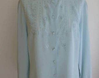 Eggshell Blue Hand Embroidered Silk Blouse L UK 14 US 10