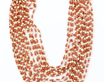 14 Strands Tiny Glass Beads in Coral Red, Gold, and Cream Necklace