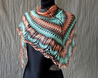 Ombre scarf, Knitted, Summer scarf, Peach, Mint, Scarf, Hand knit shawl, Pastel clothing, Striped shawl, Summer knit shawl, Summer wrap,