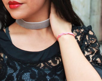 Gray Velvet Choker Necklace Handmade