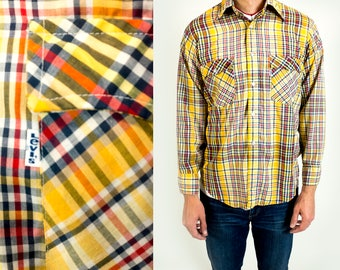 Vintage 1970s or 1980s Levi's White Tab Yellow Plaid Western Wear Button Down Shirt Fits Like Size L Large // XL Extra Large