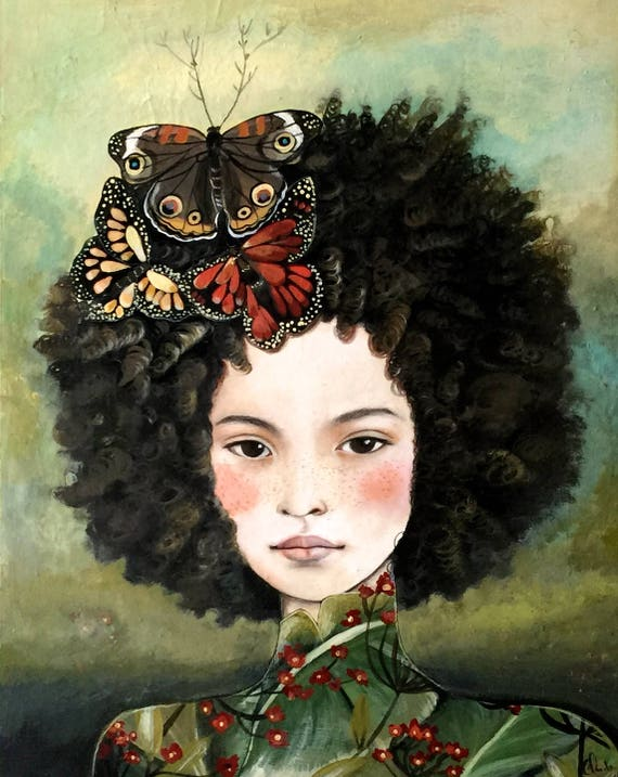 dreamy girl with giant leaves  art print