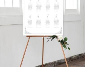 Seating Chart on Foam Core - Ornate Design/Scroll Work/Script Fonts (Style 0015)