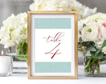 PRE-PRINTED SALE - Reception Table Numbers 1 Through 10 - Turquoise Paisley (Style 13763)