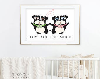 Art Print - Our Love Connection, Pugs (W00004)