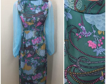 Hostess evening jade green and blue paisley 70s maxi dress gown size medium